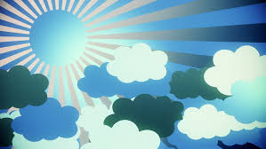summer motion design with sun and clouds animation hd