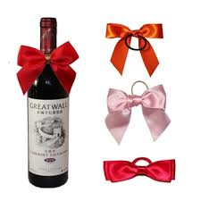 unique design wine bottle bow tie wholesale ribbon bow for wine