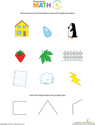 preschool math shapes with straight lines worksheet education com