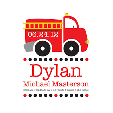 Firefighter Nursery Decor Truck Wall Baby Name Fireman Nursery Decor Birth