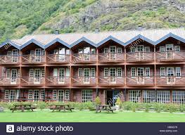 typical norwegian chalet style hotel stock photo royalty free