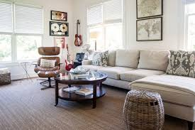 eames sofa living room farmhouse with round coffee table natural