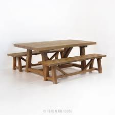 teak trestle dining table outdoor dining set reclaimed teak trestle dining table and 2