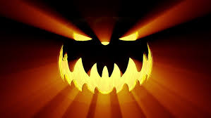 Halloween Pumpkin Lantern - shining jack o lantern halloween pumpkin with scary face isolated