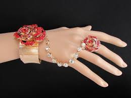 bracelet hand images New women cuff bracelet red rose rhinestone gold hand chain slave jpg