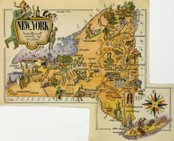 Saratoga Ny Map New York Pictorial Map 1946