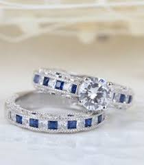Jeulia Wedding Rings by Milgrain 1 26ct Round Cut Created White Sapphire With Sapphire