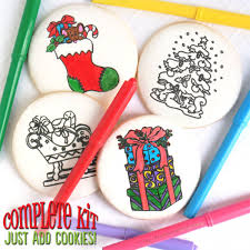 Christmas Coloring Book Cookies Mesh Stencil Set Coloring Cookies