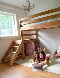 Free Building Plans For Loft Beds by Ana White Camp Loft Bed With Stair Junior Height Diy Projects