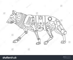 steampunk style wolf mechanical animal coloring stock vector