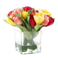 floral arrangement august grove tulip floral arrangement in glass vase reviews