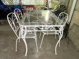 Salterini Patio Furniture Salterini Vintage Wrought Iron Dining Set Table 4 Chairs W