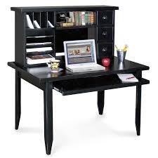 Black Corner Desk With Drawers Furniture Black Solid Wood Corner Desk With Three Drawers And