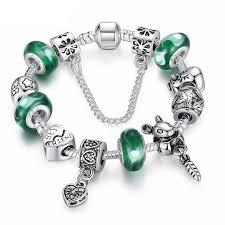 beads charm bracelet images Silver green beads charm bracelets top city trends jpg