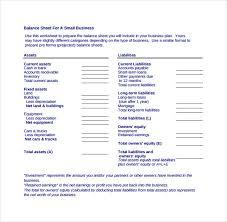 balance sheet template for small business balance sheet template