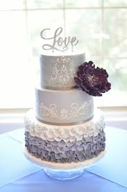 wedding cake ottawa ruffles in grey degrade and stencils with a beautiful open purple
