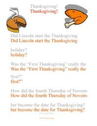 thanksgiving reading comprehension passage of 4th thursday in nov