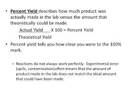 percent yield u0026 limiting reactant chemistry percent yield ppt