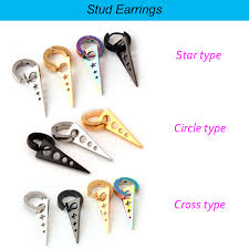 different types of earrings 1 pair newest mens women titanium steel dangle spike triangle stud