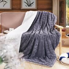 Faux Fur King Size Blanket Dada Bedding Grey Soft Faux Fur With Sherpa Backside Throw Blanket