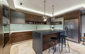 Small Kitchen With Reflective Surfaces Contemporary Kitchen Cabinets Design Styles Designing Idea