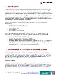performance comparison of ruby frameworks app servers template