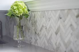 Herringbone Backsplash Tile In Calacatta Marble By WellNested - Marble backsplash tiles