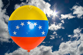 Venezuela Flag Colors Balloon In Colors Of Venezuela Flag Flying On Blue Sky Stock Photo