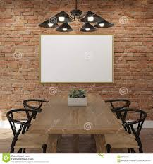 The Brick Dining Room Furniture Mock Up Poster Frame At The Brick Wall Of Dining Room Stock