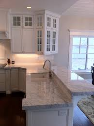 beautiful carrera marble countertops feature grey granite kitchen