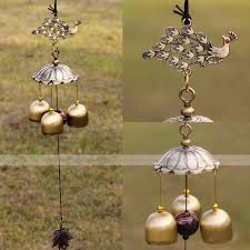 feng shui antique bronze peacock copper 3 bells lucky wind chimes