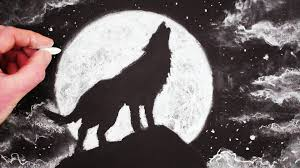 how to draw a wolf howling at the moon by