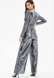 sleeve sequin jumpsuit black plunge sleeve sequin jumpsuit missguided