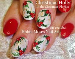 easy christmas nail art xmas holly nails on white nails design