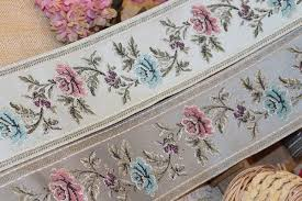 jacquard ribbon by the yard 4yards lot wide 9cm woven jacquard ribbon classical big flowers