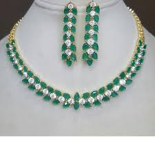 green stones necklace images Glitz emerald color stones statement necklace set vedrocks JPG