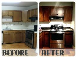 how to refinish oak kitchen cabinets kitchen cabinet refinishing before and after upandstunning club