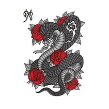 black ink chinese cobra snake with roses tattoo design