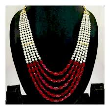 white necklace sets images Red white pearl necklace set navodyami jpg