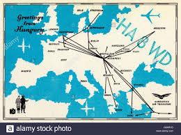 postcard with map of europe and airline routes to and from