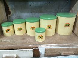 yellow kitchen canisters set of 6 vintage retro metal willow kitchen canisters halsey