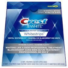 crest supreme whitening strips bandes crest 3d white whitestrips suprême flexfit walmart canada