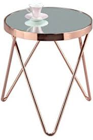 coffee tables and side tables relaxdays copper side table made of copper and black glass medium