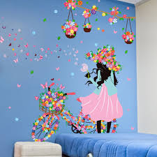 Cycling Home Decor Removable Flower Wall Stickers Home Decor Cycling