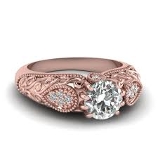 Rose Gold Wedding Ring by Rose Gold Round White Diamond Engagement Wedding Ring In Pave Set
