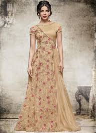 party wear gowns beige floral ethnic partywear gown evening gowns salwar kameez