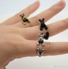 2018 Wholesale Punk Vintage 3d Miniature Schnauzer Puppy Animal Ring