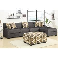 Sectional Sofa With Ottoman Amazon Com 3 Pieces Faux Linen Sectional Sofa With Ottoman Slate