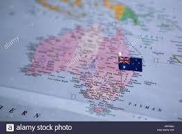 sydney australia map flag pin placed on world map in sydney australia stock photo