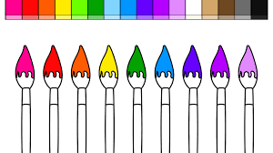 learn colors for kids and color paint brushes back to